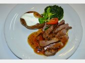 Lamb Sirloin with Spinach Leaves and Jacket Potato with Sour Cream